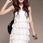 韩版蛋糕吊带蕾丝连身裙